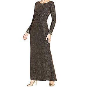Plus Size Embellished Sleeves Metallic Gown Dress